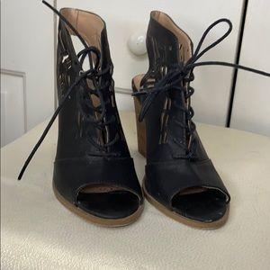 Black Peep Toe Lace Up Heels